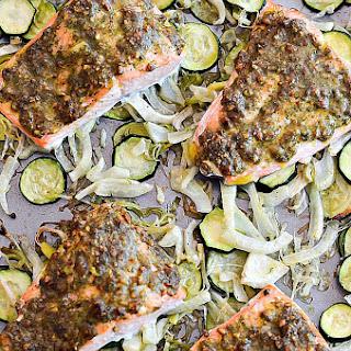 One Pan Dill Pistachio Salmon with Veggies
