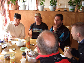 Photo: Lunch in Nyalam, Tibet (r to l) Erik, Ron, Fedirico, Marko, Willem