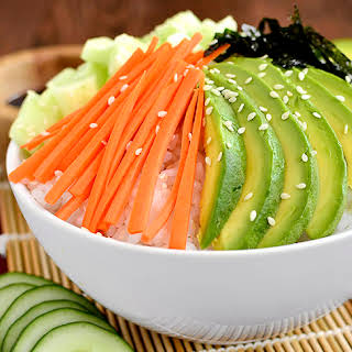 Vegetable Sushi Roll in a Bowl.