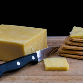 Crackers and Cheese by Helen Nickisson - Food & Drink Ingredients ( knife, wooden, crackers, snacks, board, cheese )