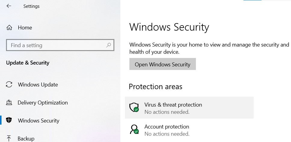 Windows Security page in Windows Settings