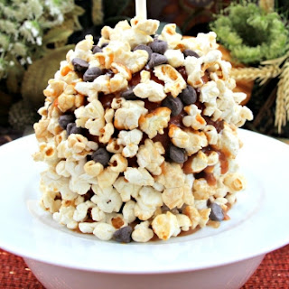 Chocolate and Popcorn Candy Apples.