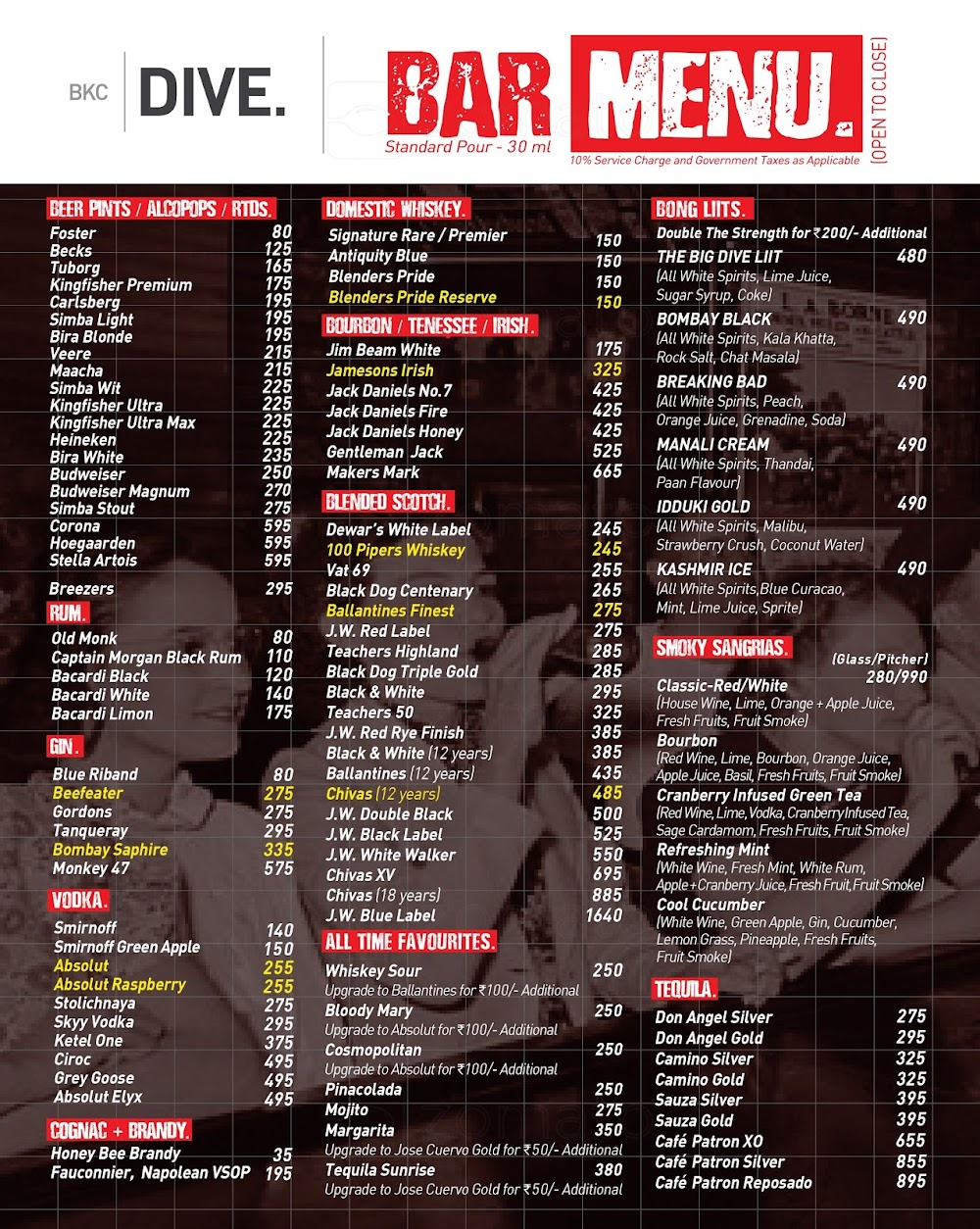 Dive BKC menu 5