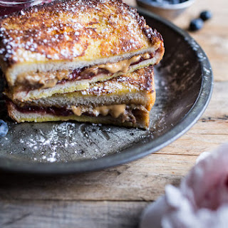 Peanut Butter and Rhubarb Jelly Hot French Toasted Sammie.