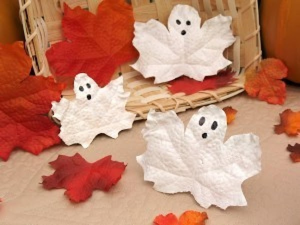 Ghostly leaves  These little accents make a big statement on a mantle with colored leaves...