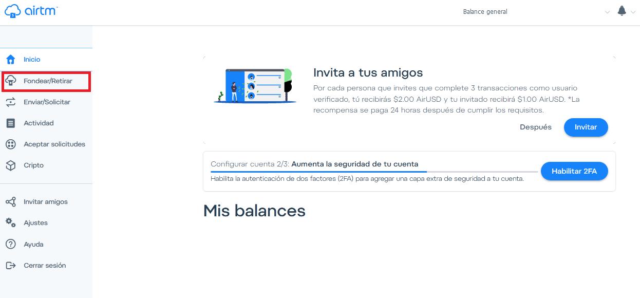 Retira dinero Airtm en efectivo en 1 Juan Valdez.