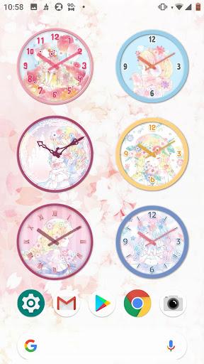 analog clock widget flowery kiss screenshot 1