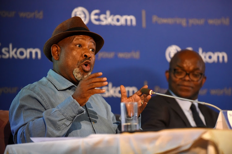 Results: Eskom chairman Jabu Mabuza and Phakamani Hadebe, the utility's interim CEO, at the company's results presentation in Sunninghill on Tuesday. Hadebe said that while the money was not yet 'in the bank', Eskom had secured commitments of R10bn by February 1 and another R10bn by the end of the month. Picture: FREDDY MAVUNDA