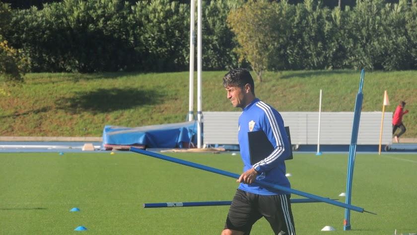 Pedro Emanuel en su último entrenamiento en el Almería.