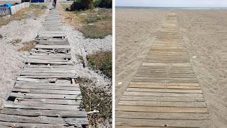 A la izquierda, foto publicada por el PP, supuestmente de Semana Santa. A la derecha, foto actual en la misma zona de la playa.