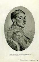 Photo: Ingemar Hasselblad folkskollärare i Vasselhyttan, född i Björkhyttan Lindesberg 1894-11-11, porträttet ritat av Johan Stenström