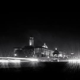 Rajpath  by Kallol Bhattacharjee - Black & White Street & Candid ( night photography, night, nikon, tokina, nightscape )