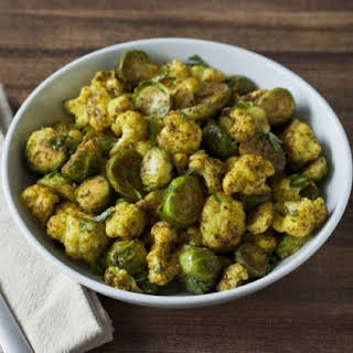Roasted Curried Cauliflower & Brussels Sprouts.