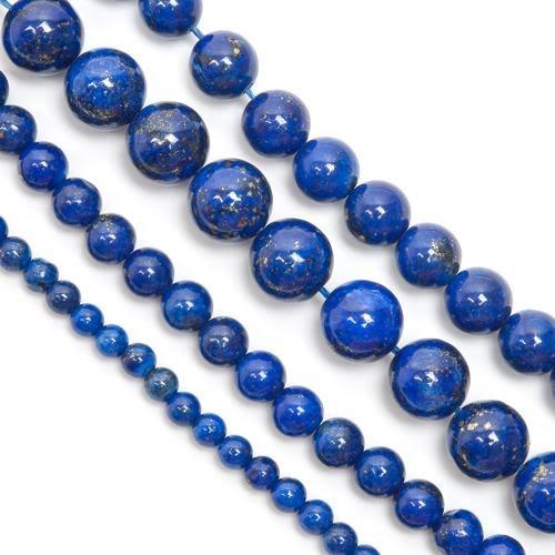 Lapis lazuli, runda pärlor på tråd