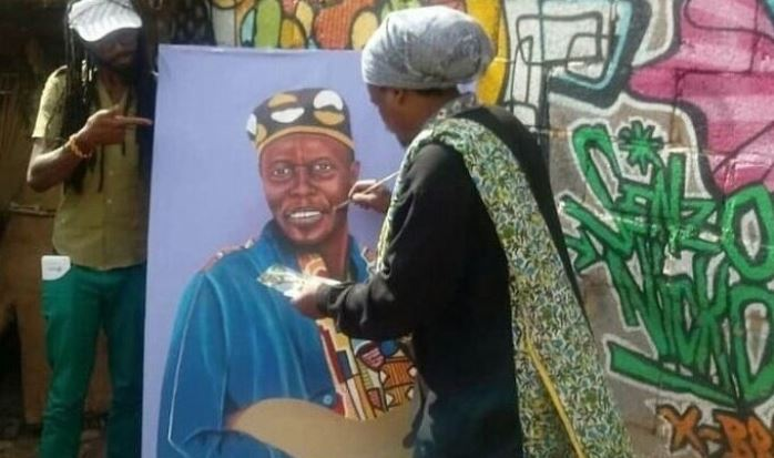 Rasta tried his hand at a painting of Oliver Mtukudzi.