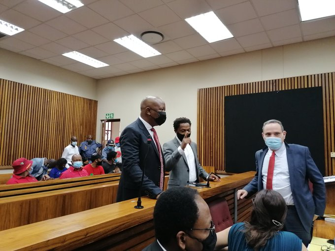 EFF leader Julius Malema and MP Mbuyiseni Ndlozi at the Randburg magistrate's court on the second day of evidence being led in their trial on a charge of assault.