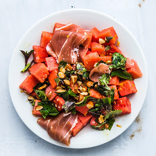 Watermelon and Prosciutto with Mint and Toasted Almonds