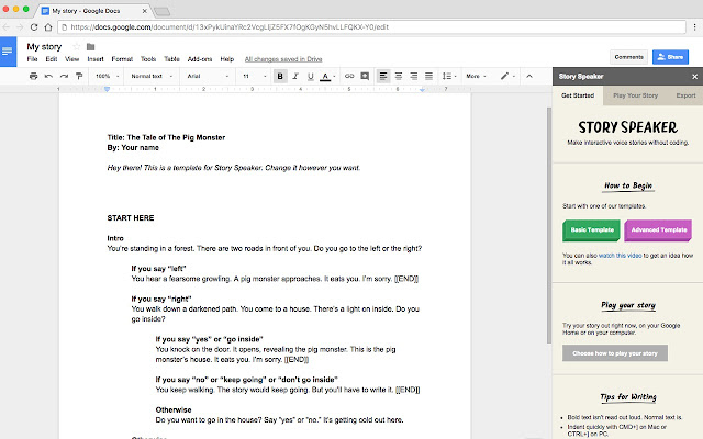 Story Speaker - Google Docs add-on