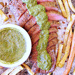Sheet Pan Moroccan Steak with Carrot Top Chimichurri