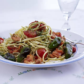 Spaghetti with Smoked Salmon, Tomatoes and Peppers.