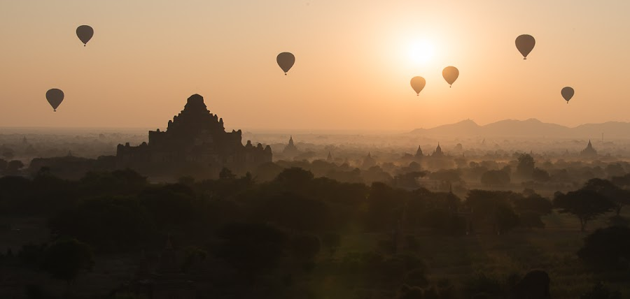 Balloons over Bagan by Tin Htoo Khaing - Landscapes Travel ( myanmar, pagoda, sunrise, bagan, balloons )