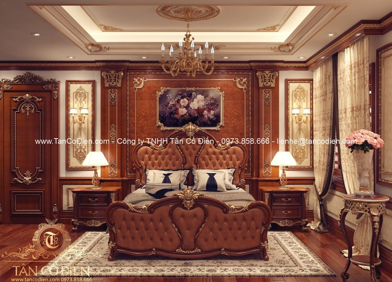 Phòng ngủ trong căn biệt thự cổ điển
