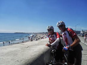 Photo: 20130812 Day 55 Manchester NH to Portsmouth NH Our first glimpse of the Atlantic came as we continued on NH 27 from Manchester toward the Ocean and crossed Highway 1A. It was an exhilarating moment. Here we are at the sea wall overlooking Hampton Beach looking South.  Pat and Jim