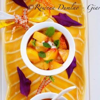 Peaches in Brandy Sauce with Vanilla Mascarpone