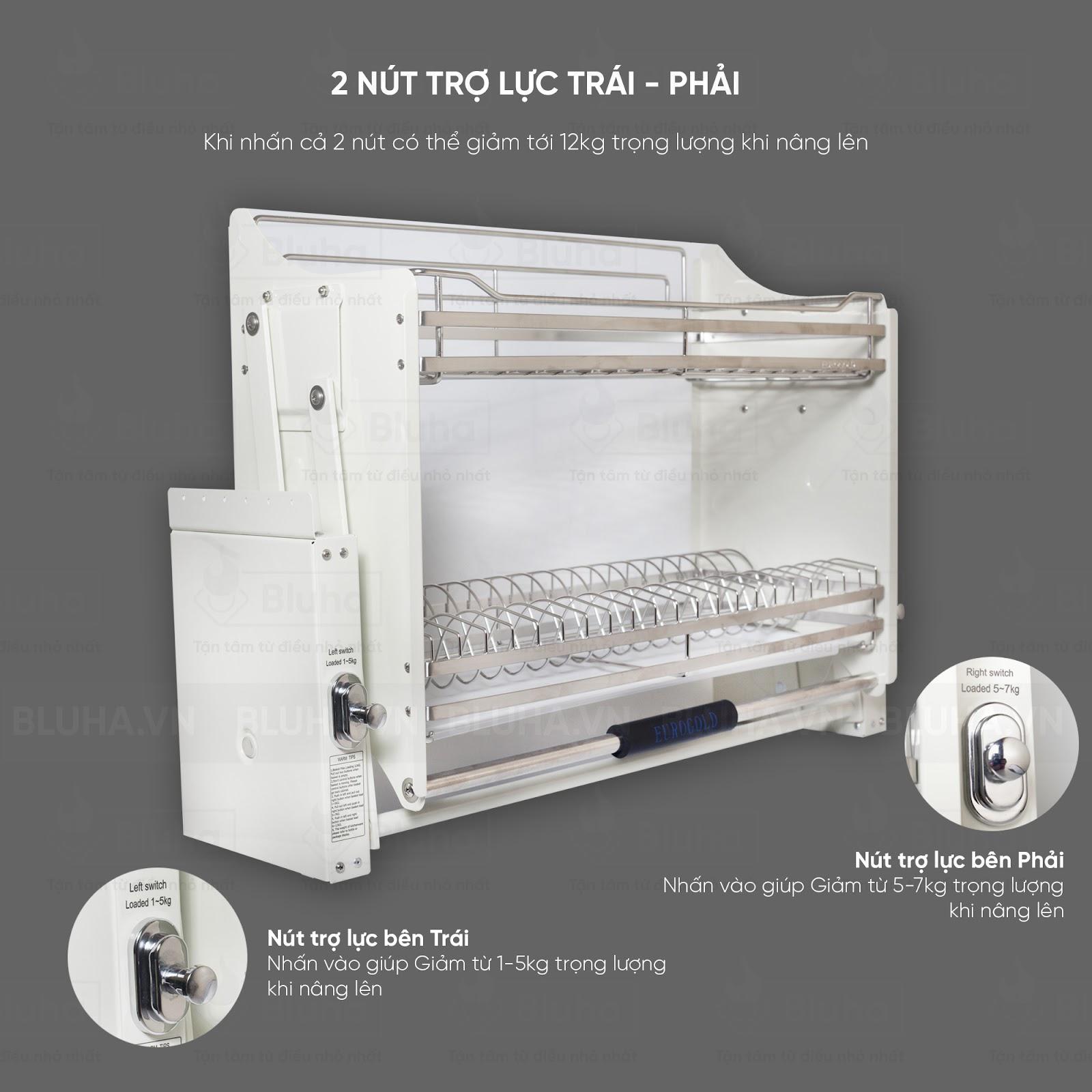 2 nút trợ lực thiết kế linh hoạt - Giá bát nâng hạ Inox EVI.180 - Phụ kiện bếp chính hãng