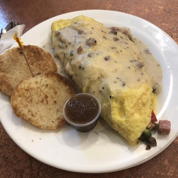 Farmer's Son omelette. Toothpick denotes GF dish.