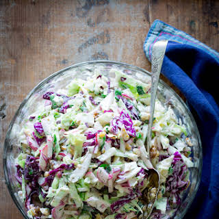 Creamy Blue Cheese And Walnut Coleslaw.