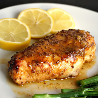 Baked Honey Mustard Chicken Breast With A Touch Of Lemon.