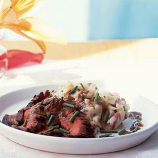 Bourbon and Brown Sugar Flank Steak with Garlic-Chive Mashed Potatoes.