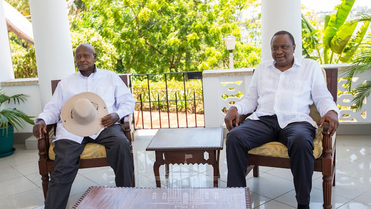 Ugandan President Yoweri Museveni with Kenya's Uhuru Kenyatta at State House, Mombasa, on Wednesday, March 27, 2019