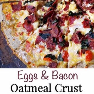 Eggs & Bacon Oatmeal Breakfast Pizza.