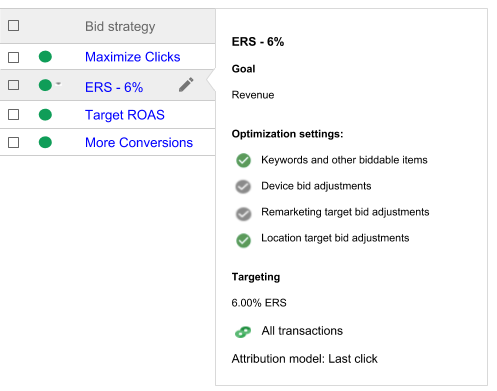 Bid strategy column. Summary of settings shown next to a selected bid strategy. The bid strategy was selected by placing the mouse on the name.