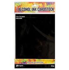 Tim Holtz Alcohol Ink Cardstock 5X7 10/Pkg - Black Matte