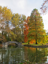 Photo: Fall trees and stone bridge reflected in a pond at Eastwood Park in Dayton, Ohio.