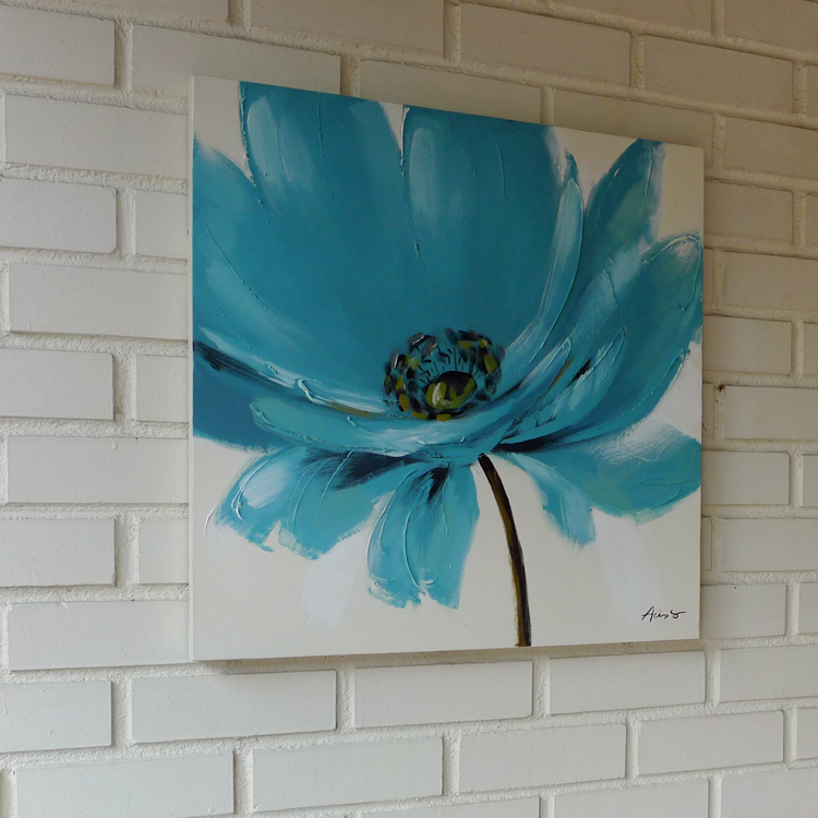 Contemporary Oil Painting _F_turquoise_60 x 60 by K RULES ENTERPRISE