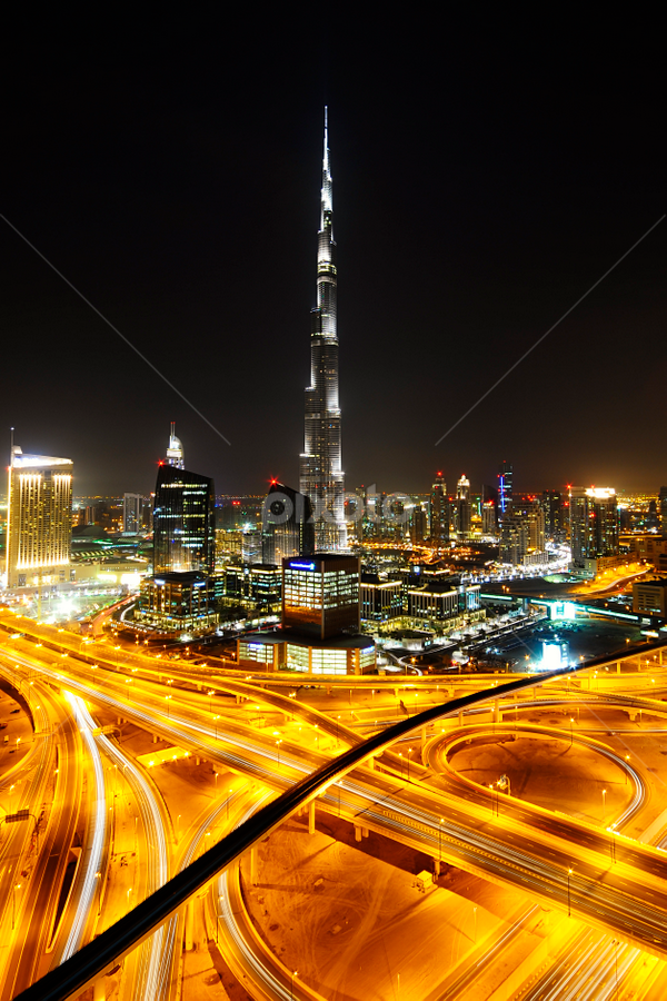 Dubai at Night by Jbern Eugenio - City,  Street & Park  Skylines ( building, dubai, street, night, pwcskylines, city )