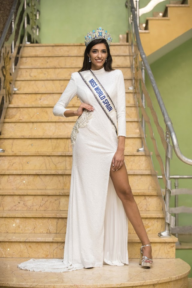 Ana García Segundo, de Almería, Miss Mundo España 2020, con un diseño original de Sergi Regal.