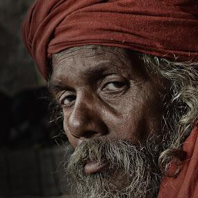 Tired Soul by Arnab Bhattacharyya - People Portraits of Men ( monk, sage, red, naga_sadhu, indian, culture, eye )