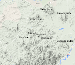 Photo: Here is the area I explored - between Cascade and Simms. I've been on Crown Butte many times, but was curious about the 4 buttes near the center of the map - Fishback, Haystack, Birdtail, and Lionhead.