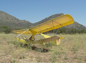 Photo: Amid the flowers of spring, Bug4 sits in the landing zone after a weekend soaring flight. This sesquiplane airchair has proven to be practical and pleasingly compact, as well as stylish, although it will never be a high speed flyer. April 2004