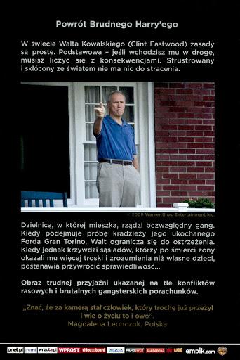 Tył ulotki filmu 'Gran Torino'