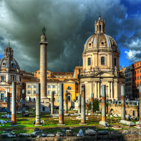 Two Churches and Columns by Darin Williams - Buildings & Architecture Public & Historical ( trajan, church, trajan's column, column, dome, piazza )