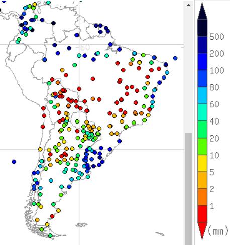 2018年7月の南米の降水量