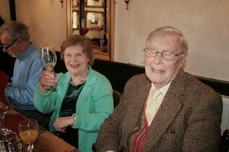 Photo: Bertie has a little sleep as Wendy raises her glass