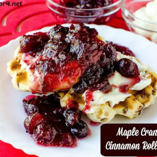 Maple Cranberry Cinnamon Roll Waffles