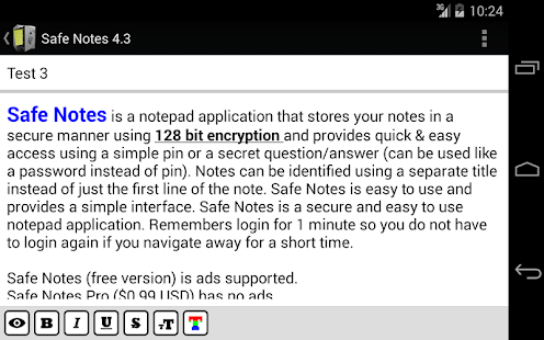 Safe Notes is a secure notepad- screenshot thumbnail